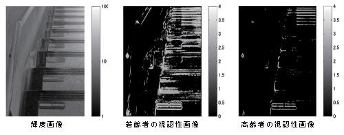 暗くて危険と思われる階段は、輝度画像を測定すれば、若齢者の視認性を評価できるだけでなく、高齢者や視覚的弱者の視認性を評価できる。